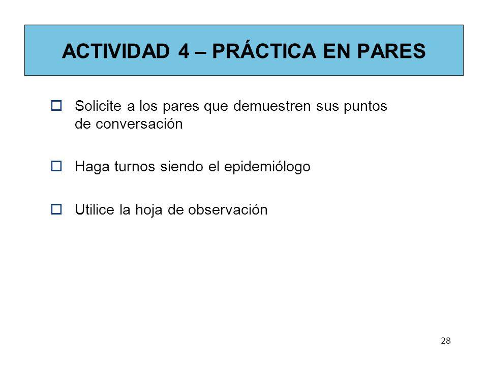 28 ACTIVIDAD 4 – PRÁCTICA EN PARES Solicite a los pares que demuestren sus puntos de conversación Haga turnos siendo el epidemiólogo Utilice la hoja de observación