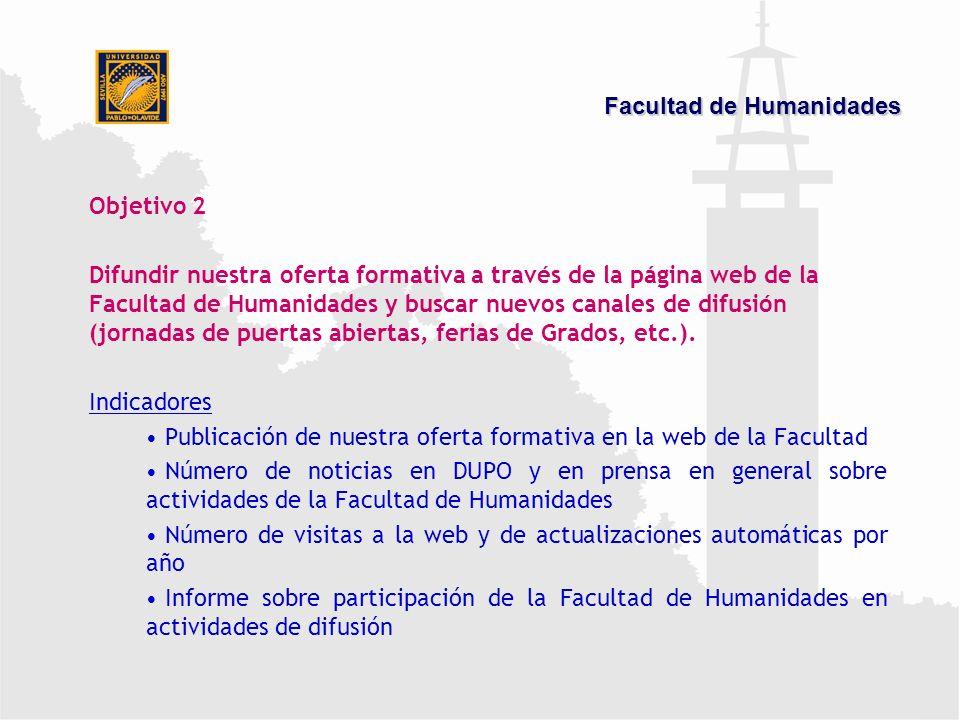 Objetivo 2 Difundir nuestra oferta formativa a través de la página web de la Facultad de Humanidades y buscar nuevos canales de difusión (jornadas de puertas abiertas, ferias de Grados, etc.).