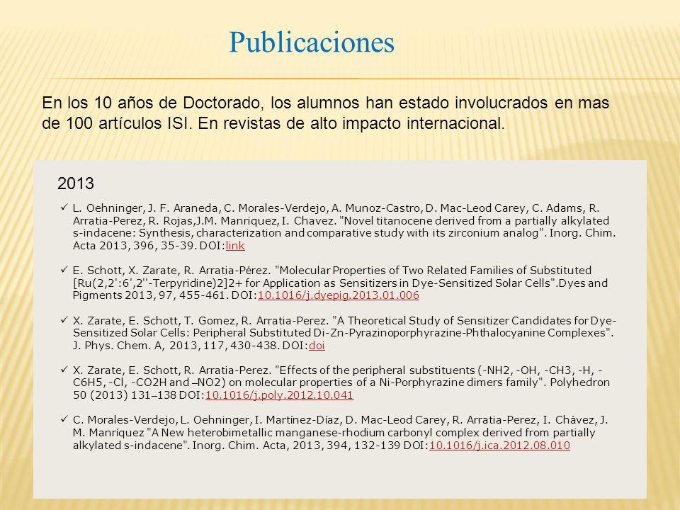 Publicaciones L. Oehninger, J. F. Araneda, C. Morales-Verdejo, A.