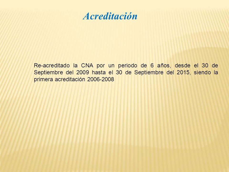 Acreditación Re-acreditado la CNA por un periodo de 6 años, desde el 30 de Septiembre del 2009 hasta el 30 de Septiembre del 2015, siendo la primera acreditación 2006-2008