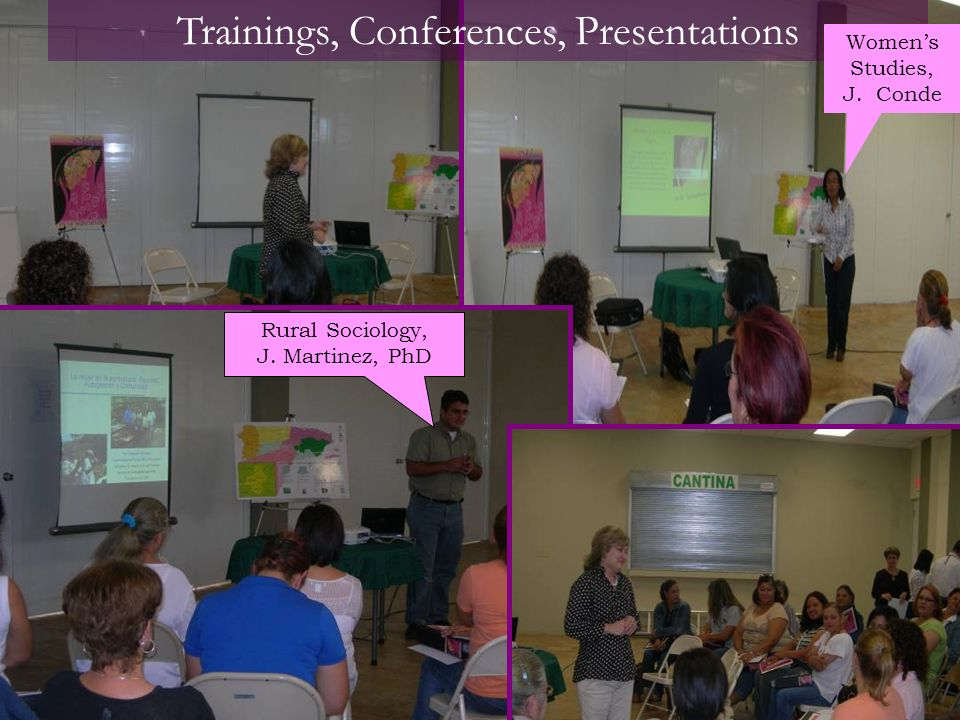 Trainings, Conferences, Presentations Womens Studies, J. Conde Rural Sociology, J. Martinez, PhD