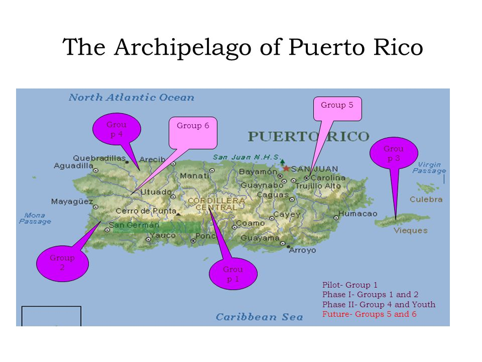 The Archipelago of Puerto Rico Grou p 1 Group 2 Grou p 3 Grou p 4 Group 5 Group 6 Pilot- Group 1 Phase I- Groups 1 and 2 Phase II- Group 4 and Youth F