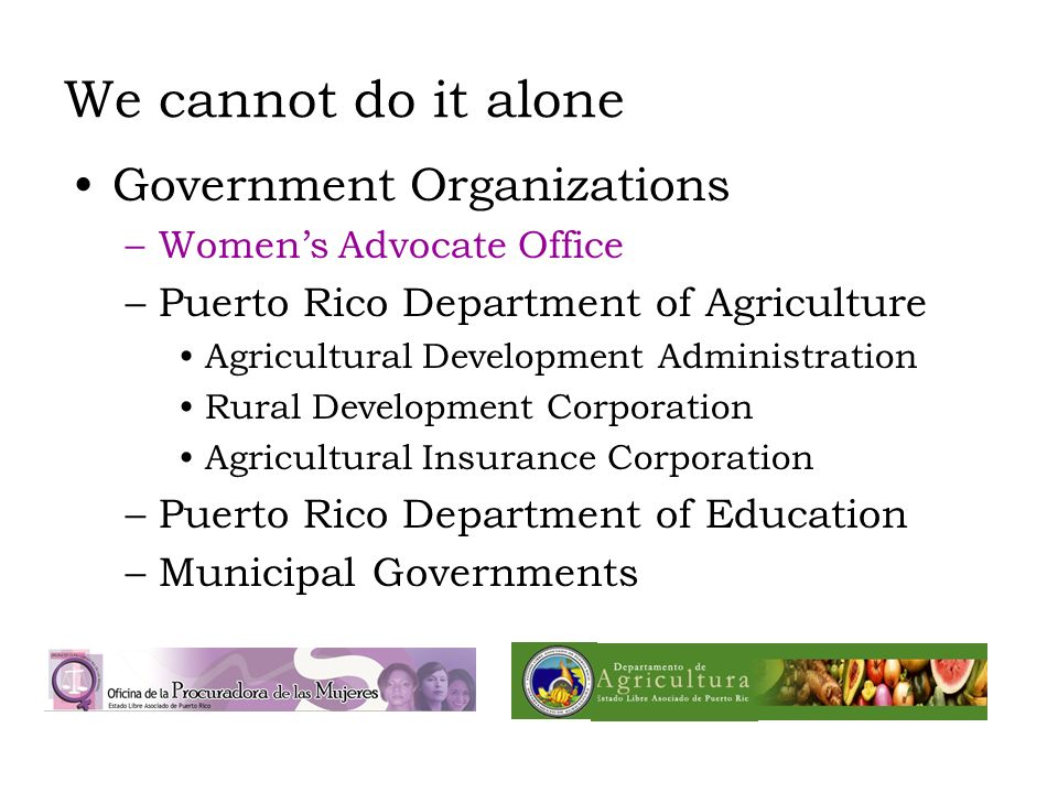 We cannot do it alone Government Organizations –Womens Advocate Office –Puerto Rico Department of Agriculture Agricultural Development Administration Rural Development Corporation Agricultural Insurance Corporation –Puerto Rico Department of Education –Municipal Governments