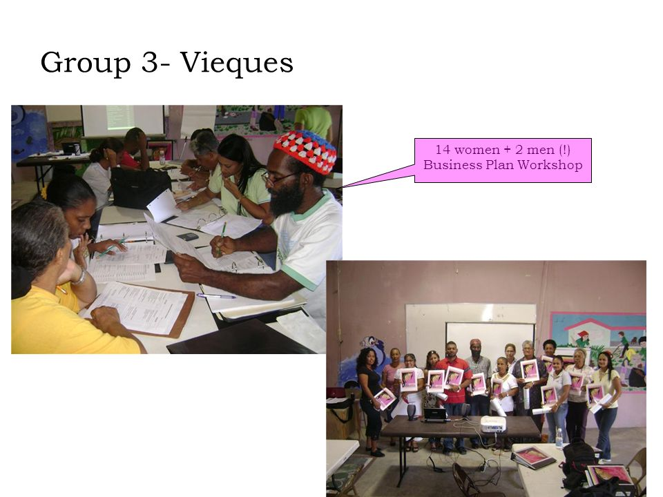 Group 3- Vieques 14 women + 2 men (!) Business Plan Workshop