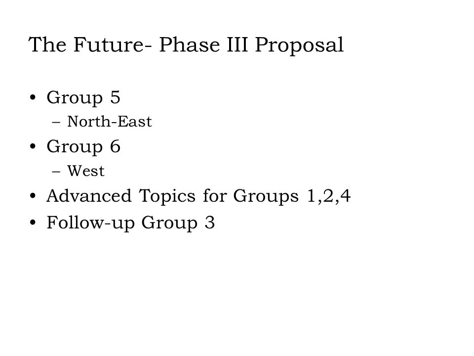 The Future- Phase III Proposal Group 5 –North-East Group 6 –West Advanced Topics for Groups 1,2,4 Follow-up Group 3