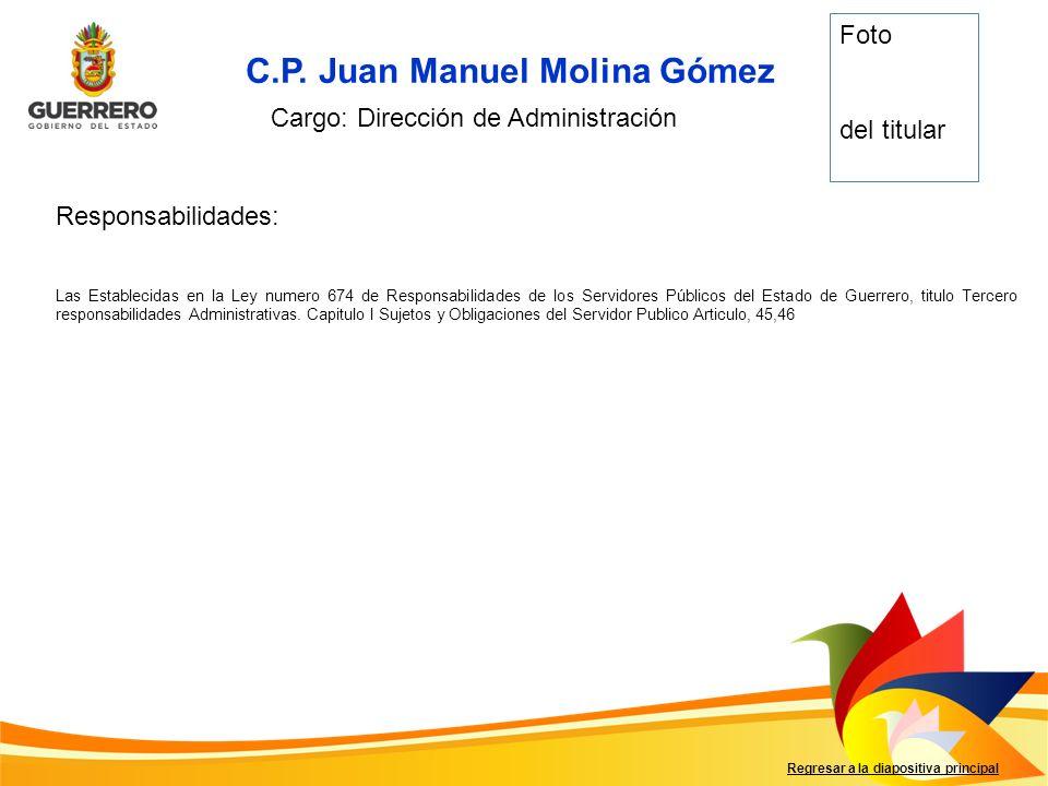 Responsabilidades: Regresar a la diapositiva principal C.P. Juan Manuel Molina Gómez Cargo: Dirección de Administración Foto del titular Las Estableci