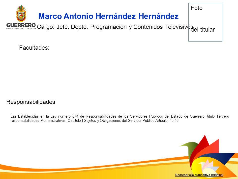 Facultades: Responsabilidades Regresar a la diapositiva principal Marco Antonio Hernández Hernández Cargo: Jefe. Depto. Programación y Contenidos Tele