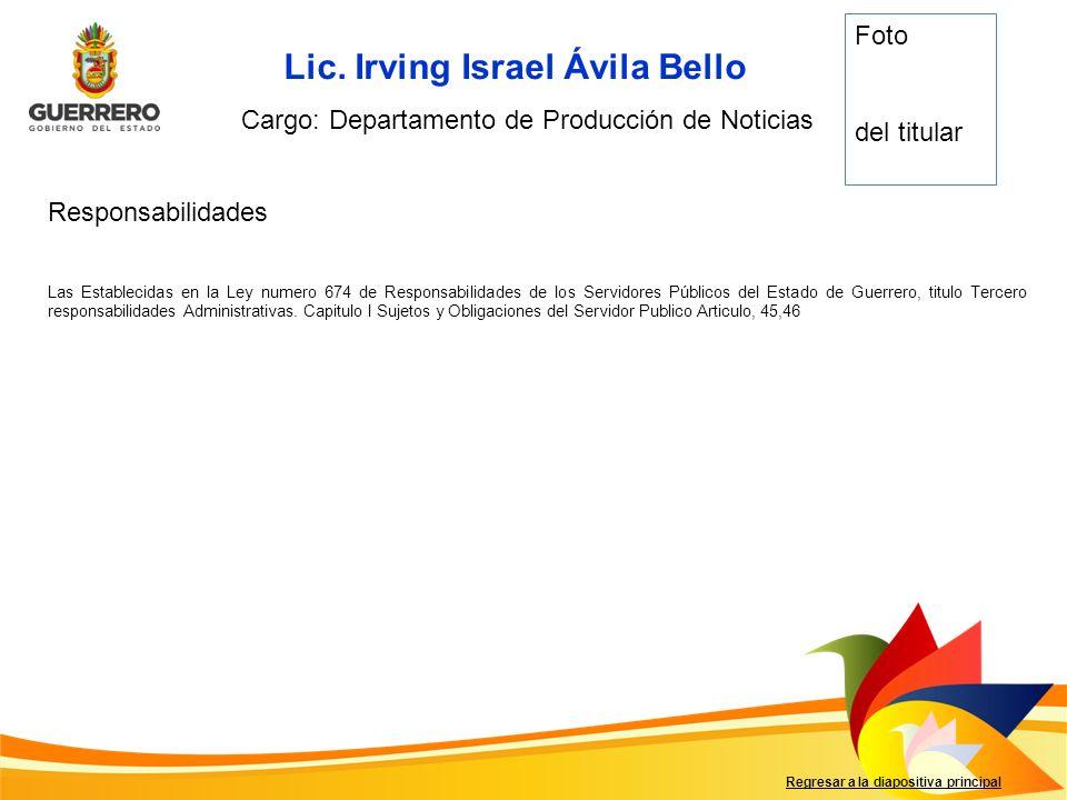 Responsabilidades Regresar a la diapositiva principal Cargo: Departamento de Producción de Noticias Foto del titular Las Establecidas en la Ley numero