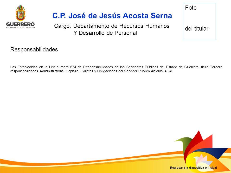 Responsabilidades Regresar a la diapositiva principal C.P. José de Jesús Acosta Serna Cargo: Departamento de Recursos Humanos Y Desarrollo de Personal