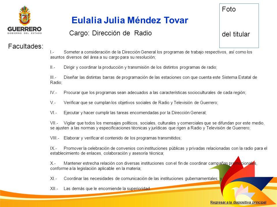 Eulalia Julia Méndez Tovar Facultades: Regresar a la diapositiva principal Cargo: Dirección de Radio I.-Someter a consideración de la Dirección Genera