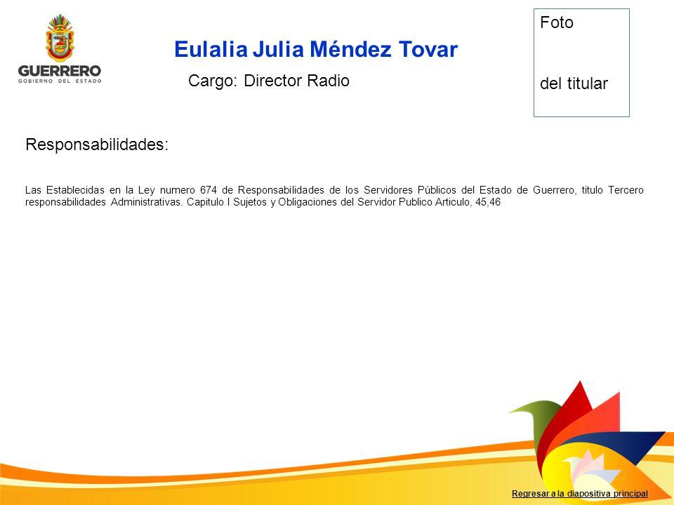 Eulalia Julia Méndez Tovar Responsabilidades: Regresar a la diapositiva principal Cargo: Director Radio Foto del titular Las Establecidas en la Ley nu