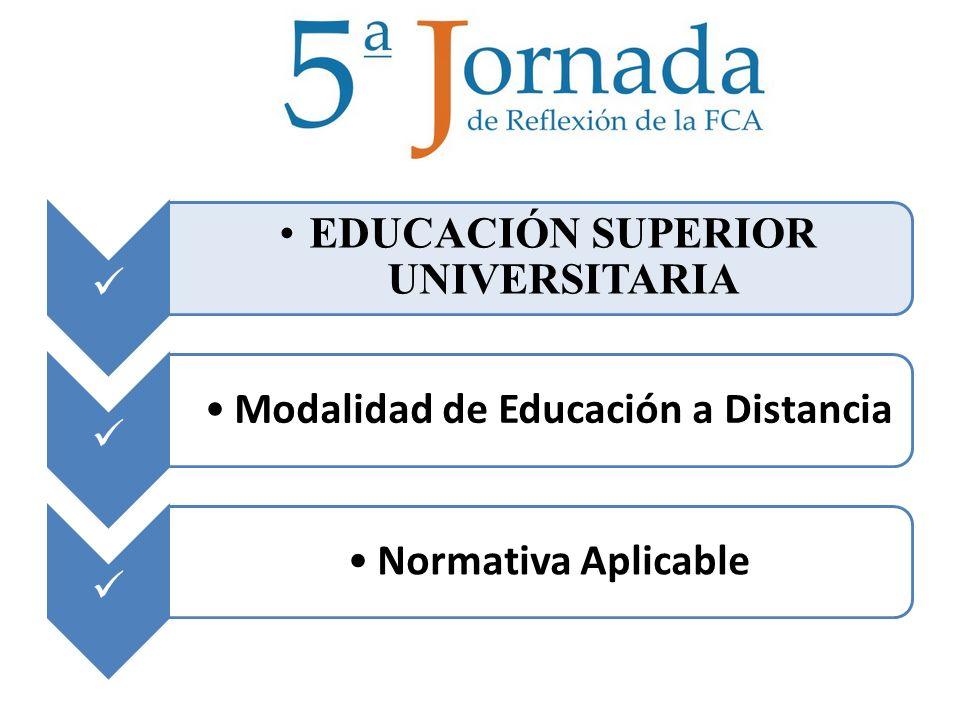 EDUCACIÓN SUPERIOR UNIVERSITARIA Modalidad de Educación a Distancia Normativa Aplicable