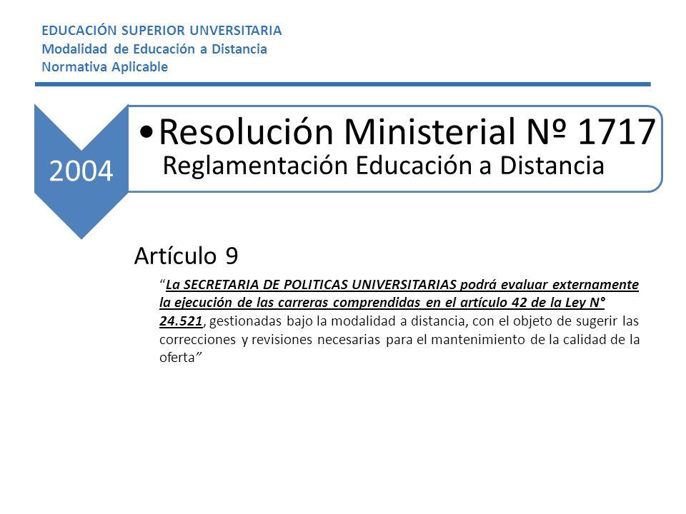 EDUCACIÓN SUPERIOR UNVERSITARIA Modalidad de Educación a Distancia Normativa Aplicable Artículo 9 La SECRETARIA DE POLITICAS UNIVERSITARIAS podrá evaluar externamente la ejecución de las carreras comprendidas en el artículo 42 de la Ley N° 24.521, gestionadas bajo la modalidad a distancia, con el objeto de sugerir las correcciones y revisiones necesarias para el mantenimiento de la calidad de la oferta 2004 Resolución Ministerial Nº 1717 Reglamentación Educación a Distancia