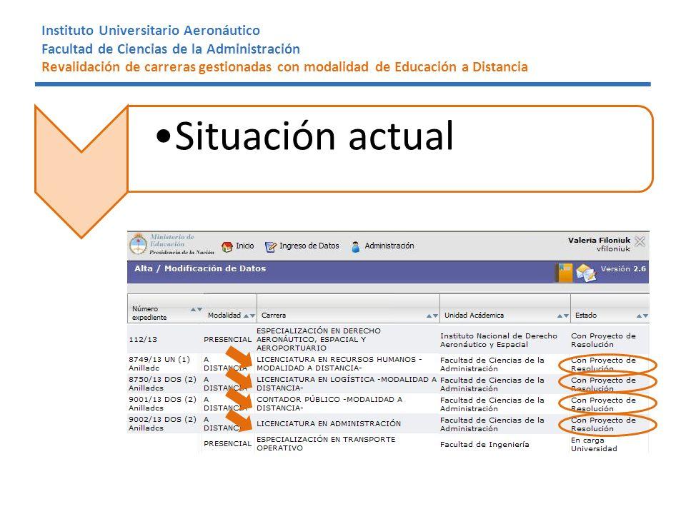 Instituto Universitario Aeronáutico Facultad de Ciencias de la Administración Revalidación de carreras gestionadas con modalidad de Educación a Distancia Situación actual