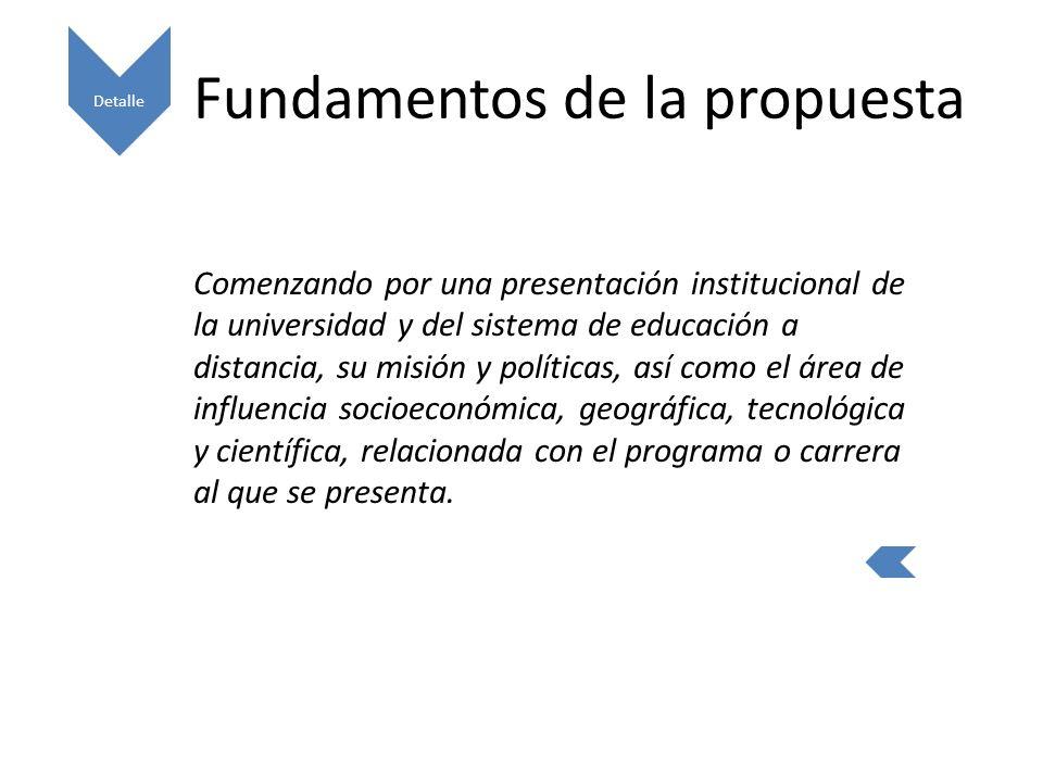 Fundamentos de la propuesta Comenzando por una presentación institucional de la universidad y del sistema de educación a distancia, su misión y políticas, así como el área de influencia socioeconómica, geográfica, tecnológica y científica, relacionada con el programa o carrera al que se presenta.
