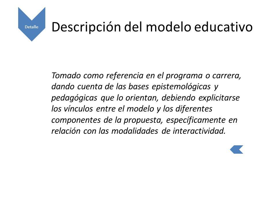 Descripción del modelo educativo Tomado como referencia en el programa o carrera, dando cuenta de las bases epistemológicas y pedagógicas que lo orientan, debiendo explicitarse los vínculos entre el modelo y los diferentes componentes de la propuesta, específicamente en relación con las modalidades de interactividad.
