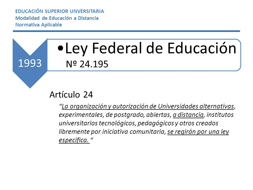 Artículo 24 La organización y autorización de Universidades alternativas, experimentales, de postgrado, abiertas, a distancia, institutos universitari