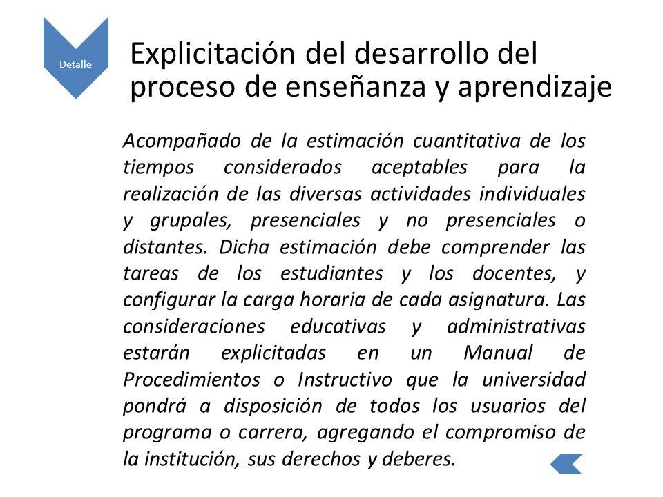 Explicitación del desarrollo del proceso de enseñanza y aprendizaje Acompañado de la estimación cuantitativa de los tiempos considerados aceptables para la realización de las diversas actividades individuales y grupales, presenciales y no presenciales o distantes.