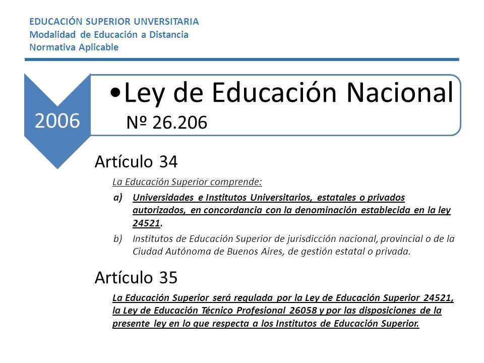 EDUCACIÓN SUPERIOR UNVERSITARIA Modalidad de Educación a Distancia Normativa Aplicable Artículo 34 La Educación Superior comprende: a)Universidades e Institutos Universitarios, estatales o privados autorizados, en concordancia con la denominación establecida en la ley 24521.