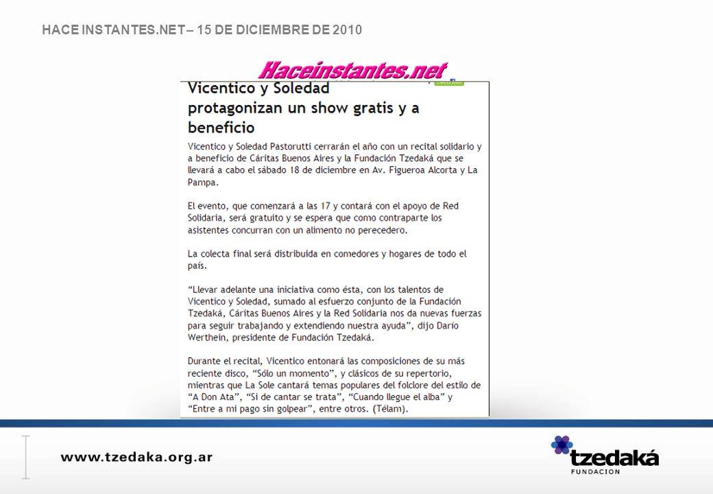 HACE INSTANTES.NET – 15 DE DICIEMBRE DE 2010