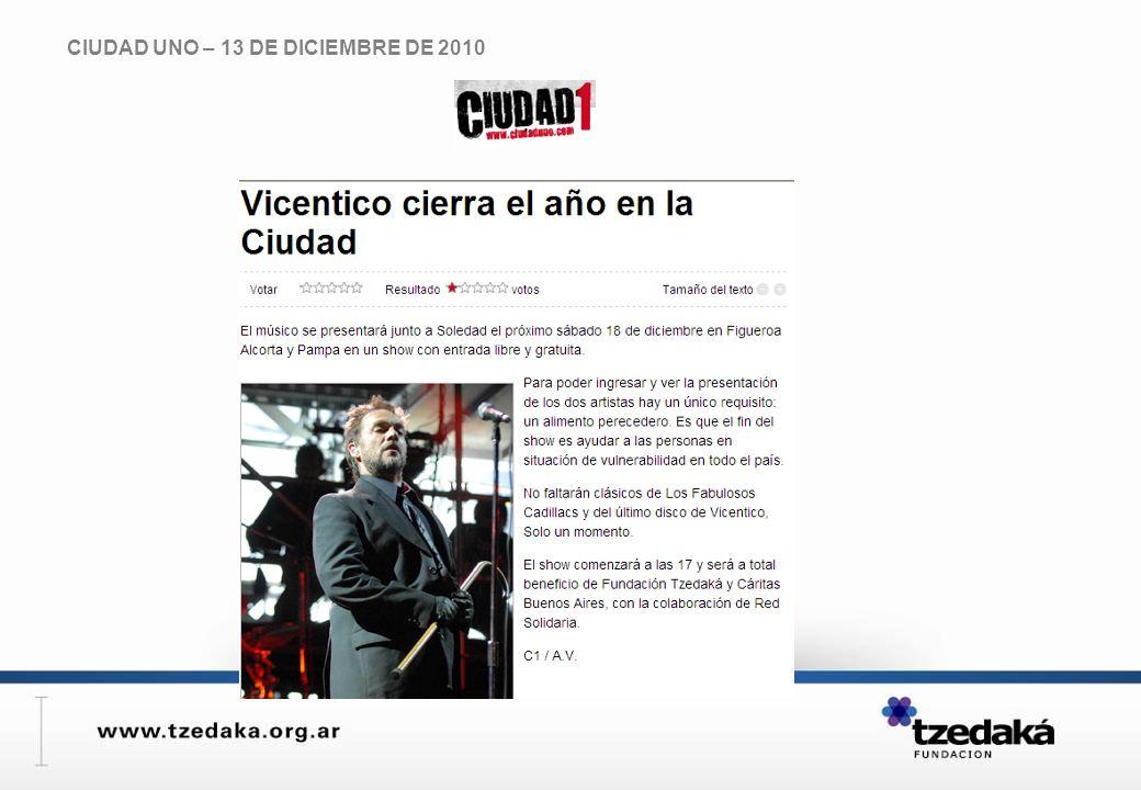 CIUDAD UNO – 13 DE DICIEMBRE DE 2010