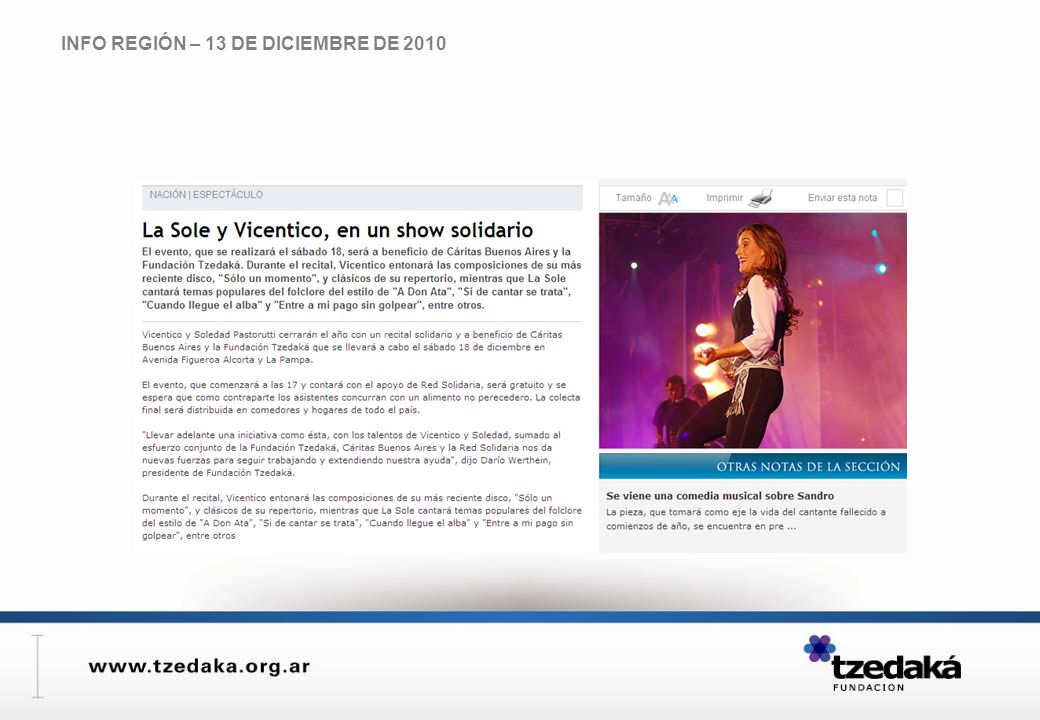 INFO REGIÓN – 13 DE DICIEMBRE DE 2010