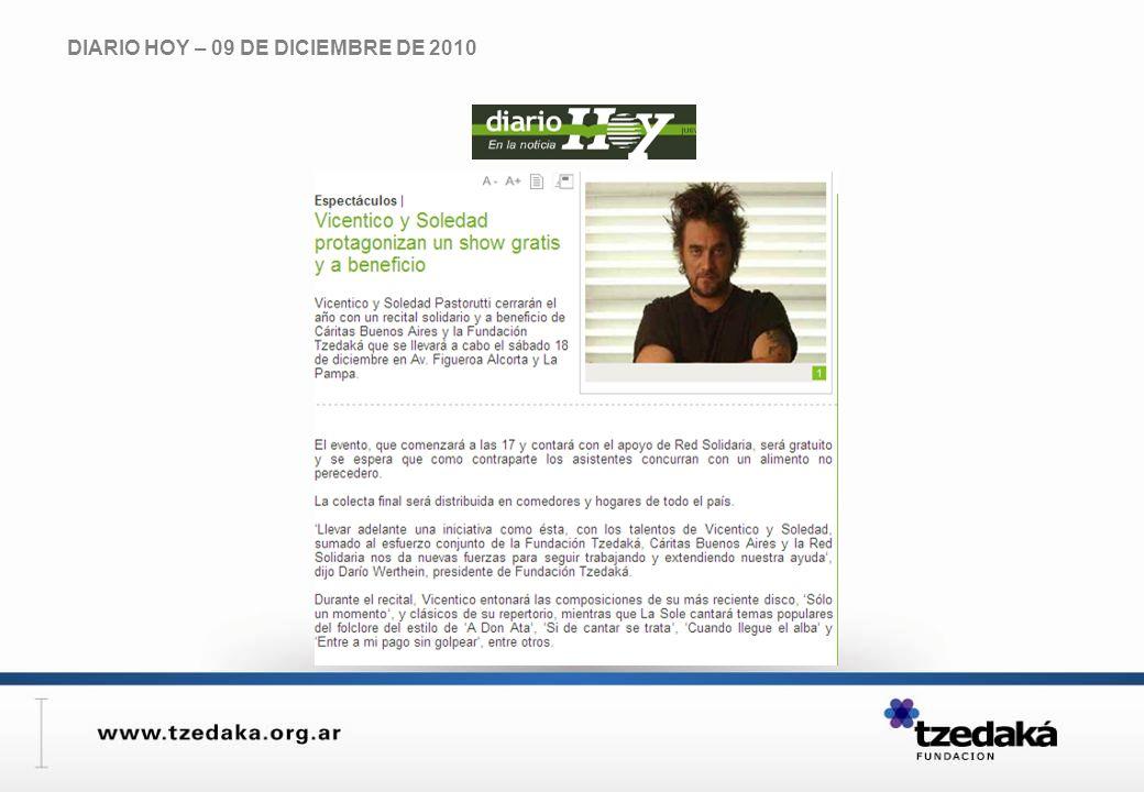 DIARIO HOY – 09 DE DICIEMBRE DE 2010
