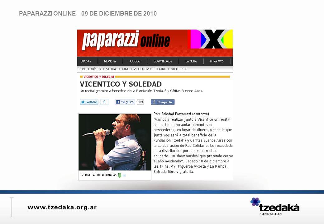 PAPARAZZI ONLINE – 09 DE DICIEMBRE DE 2010
