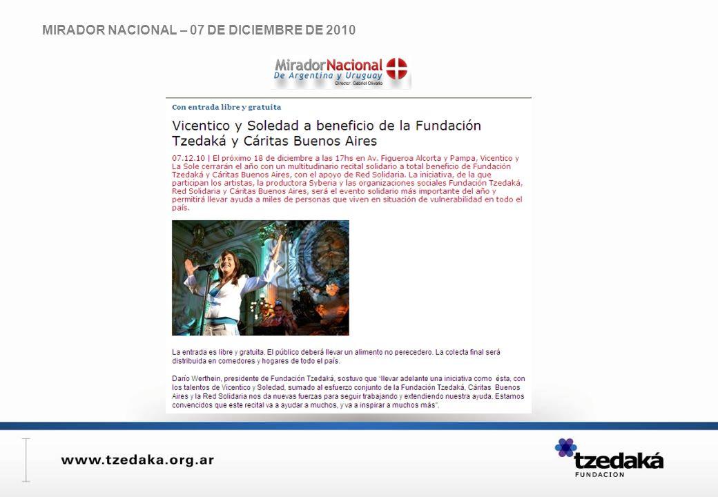 MIRADOR NACIONAL – 07 DE DICIEMBRE DE 2010