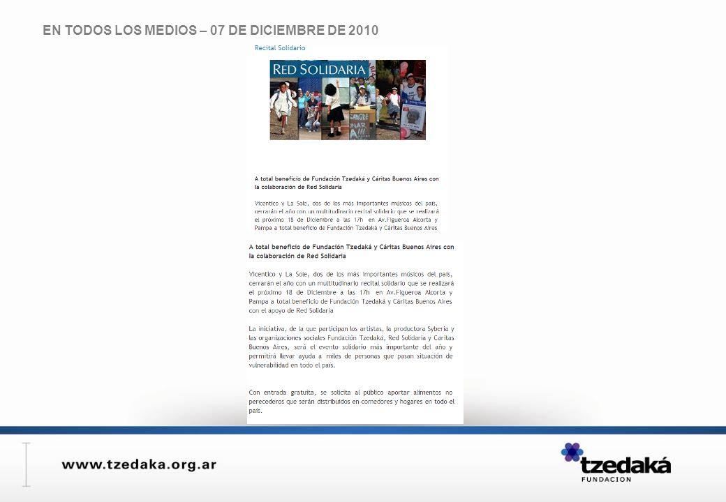 EN TODOS LOS MEDIOS – 07 DE DICIEMBRE DE 2010
