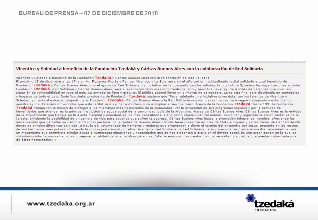 BUREAU DE PRENSA – 07 DE DICIEMBRE DE 2010