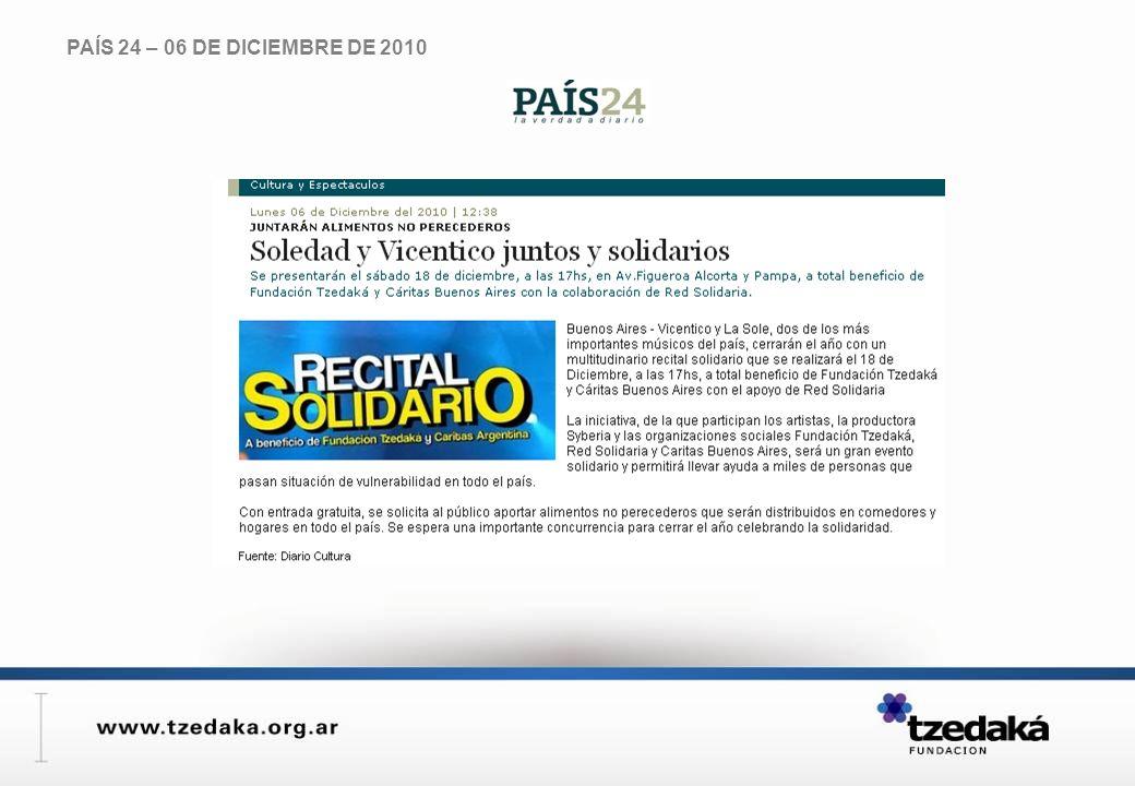 PAÍS 24 – 06 DE DICIEMBRE DE 2010