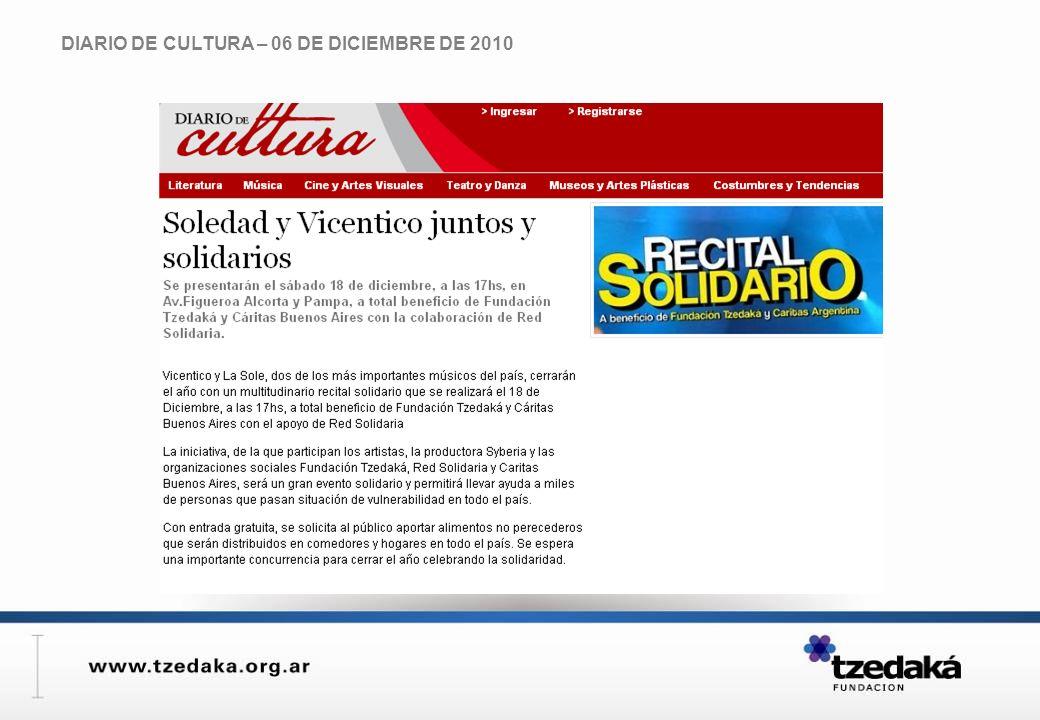 DIARIO DE CULTURA – 06 DE DICIEMBRE DE 2010