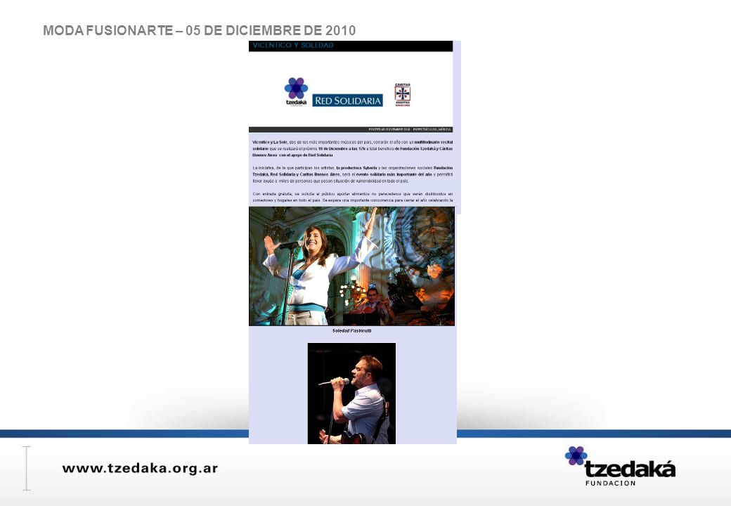MODA FUSIONARTE – 05 DE DICIEMBRE DE 2010