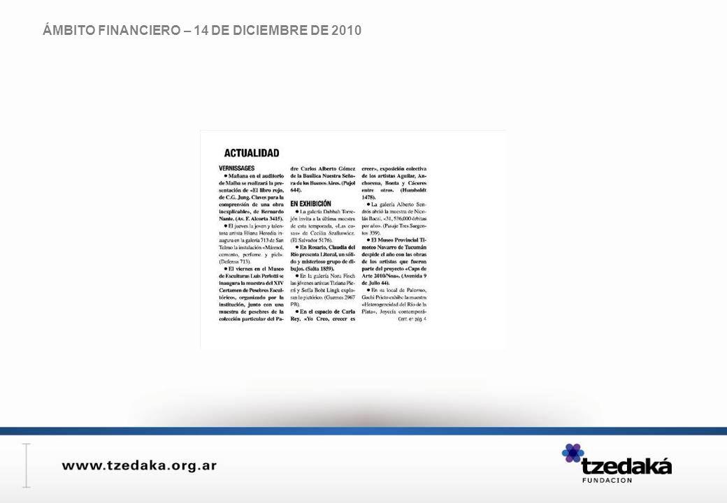 ÁMBITO FINANCIERO – 14 DE DICIEMBRE DE 2010