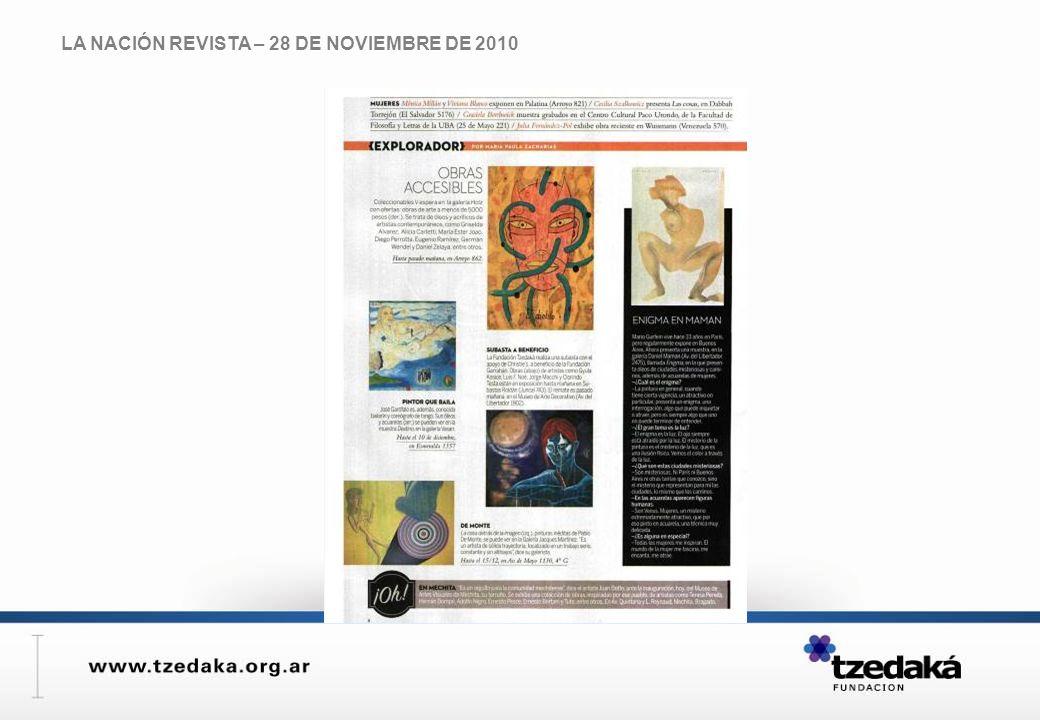 LA NACIÓN REVISTA – 28 DE NOVIEMBRE DE 2010