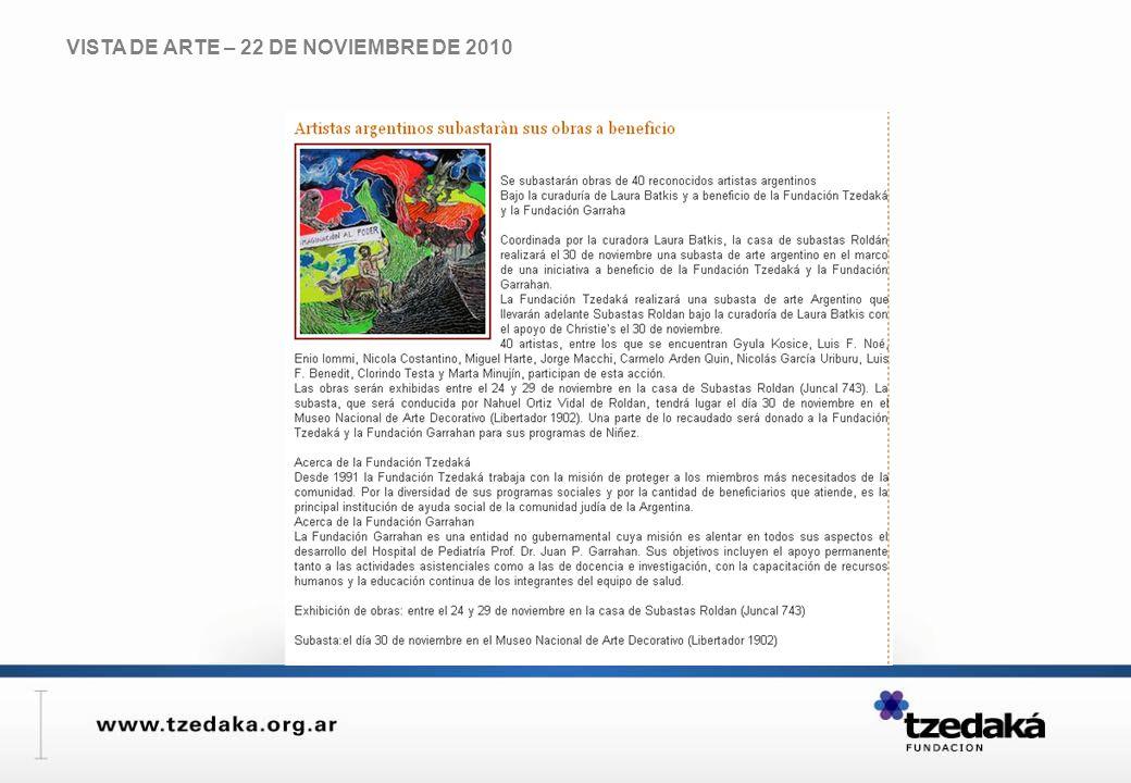 VISTA DE ARTE – 22 DE NOVIEMBRE DE 2010