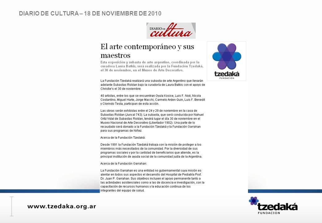 DIARIO DE CULTURA – 18 DE NOVIEMBRE DE 2010