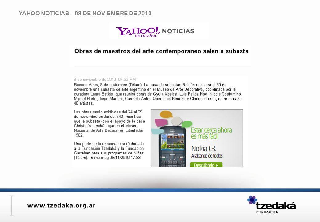 YAHOO NOTICIAS – 08 DE NOVIEMBRE DE 2010