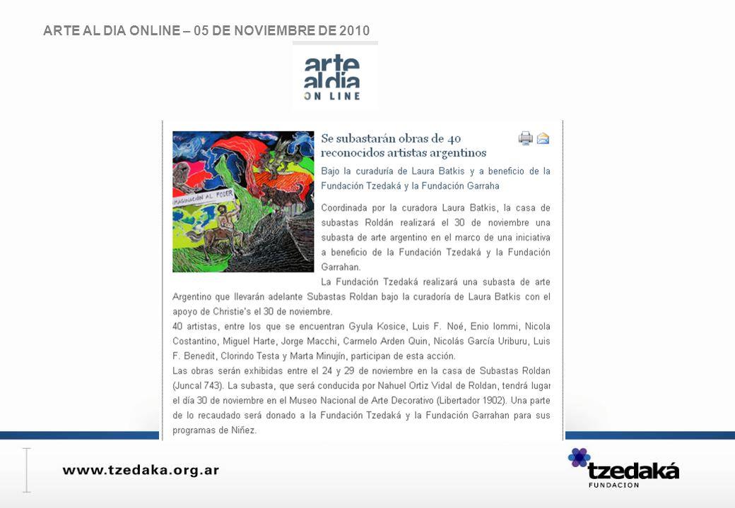 ARTE AL DIA ONLINE – 05 DE NOVIEMBRE DE 2010