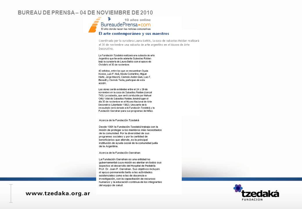 BUREAU DE PRENSA – 04 DE NOVIEMBRE DE 2010