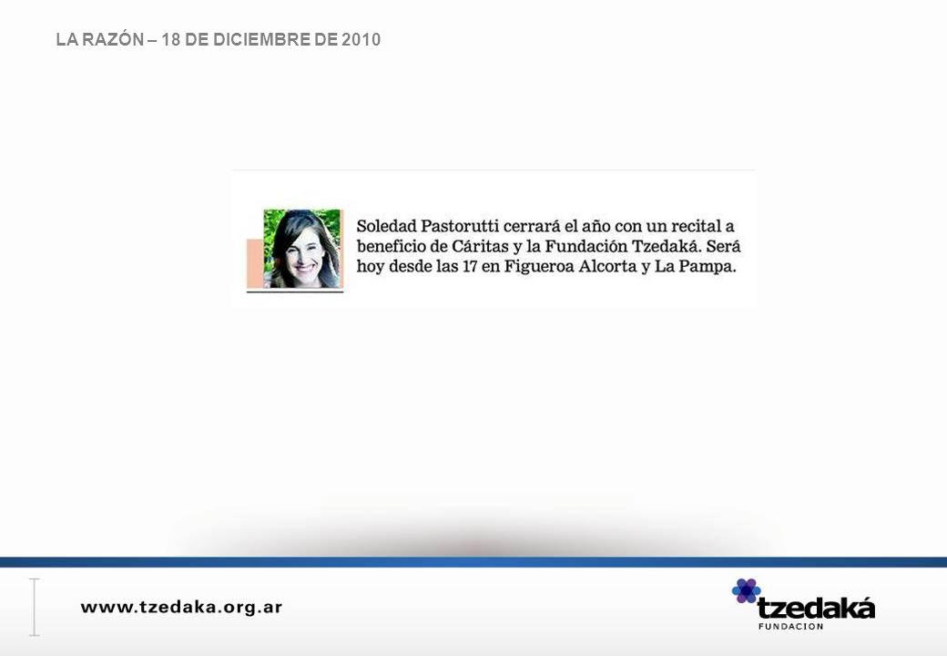 LA RAZÓN – 18 DE DICIEMBRE DE 2010