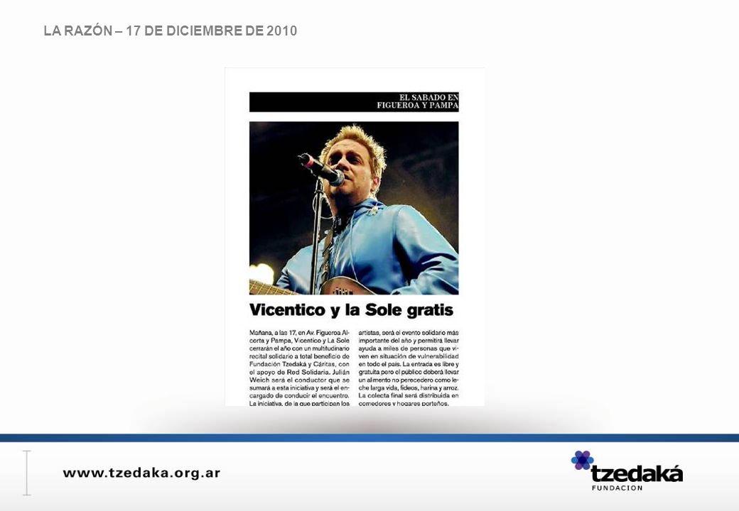 LA RAZÓN – 17 DE DICIEMBRE DE 2010