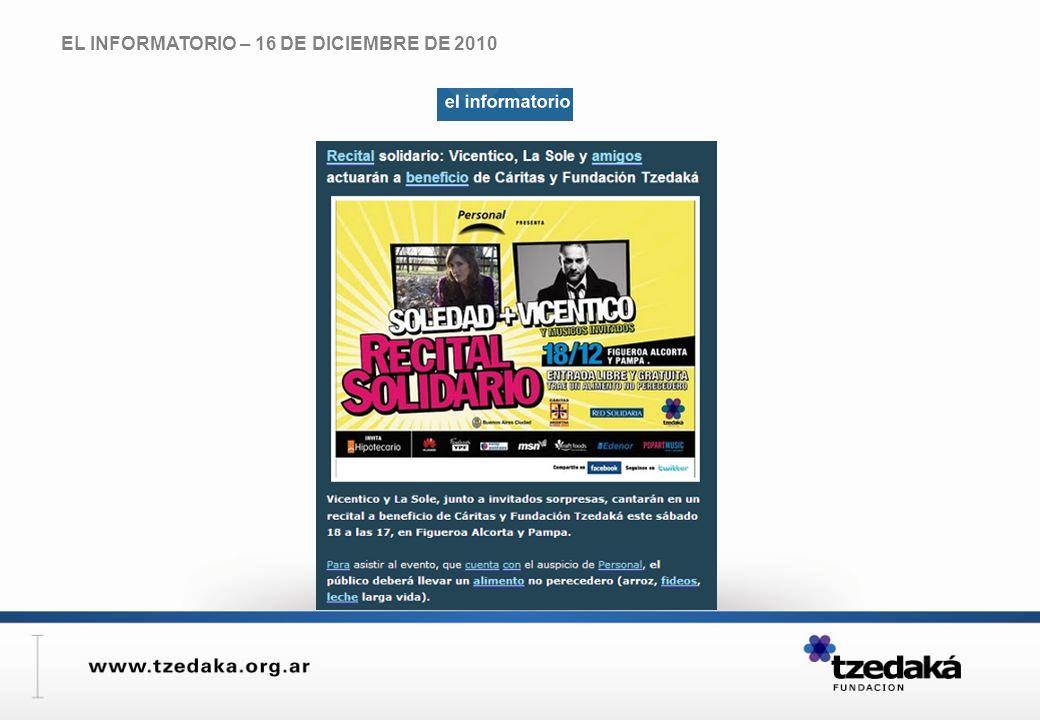 EL INFORMATORIO – 16 DE DICIEMBRE DE 2010