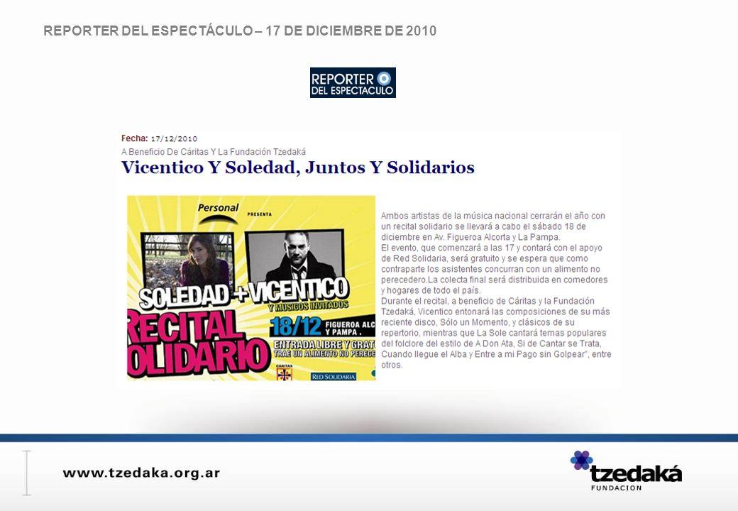 REPORTER DEL ESPECTÁCULO – 17 DE DICIEMBRE DE 2010