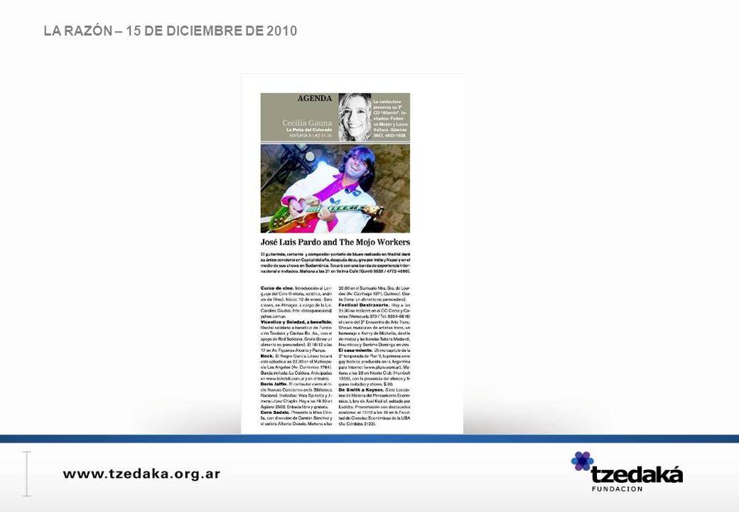 LA RAZÓN – 15 DE DICIEMBRE DE 2010