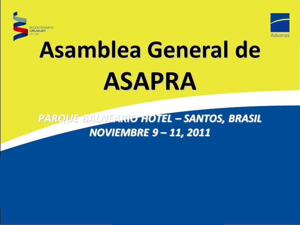 Asamblea General de ASAPRA PARQUE BALNEARIO HOTEL – SANTOS, BRASIL NOVIEMBRE 9 – 11, 2011