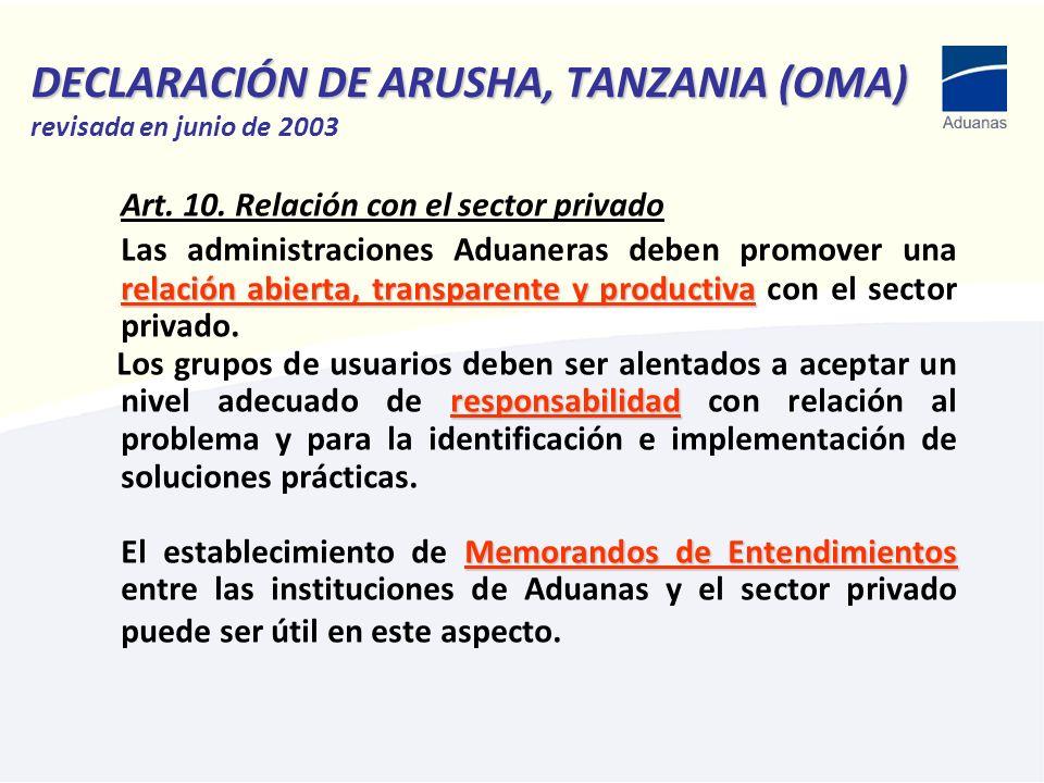 DECLARACIÓN DE ARUSHA, TANZANIA (OMA) DECLARACIÓN DE ARUSHA, TANZANIA (OMA) revisada en junio de 2003 Art. 10. Relación con el sector privado relación