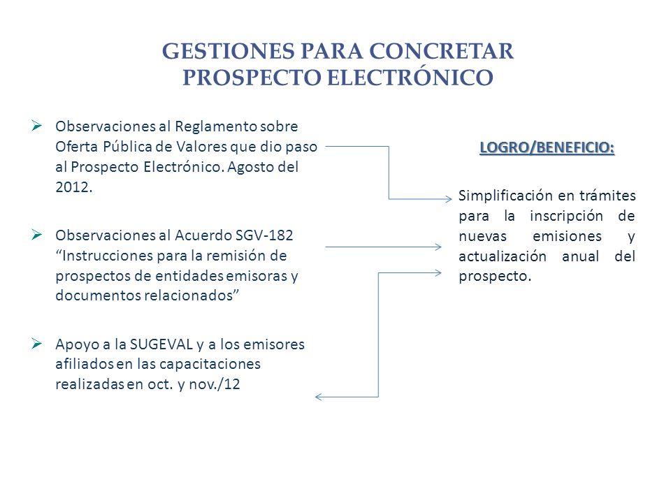 Observaciones al Reglamento sobre Oferta Pública de Valores que dio paso al Prospecto Electrónico.