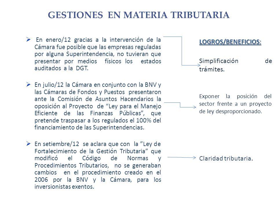 En enero/12 gracias a la intervención de la Cámara fue posible que las empresas reguladas por alguna Superintendencia, no tuvieran que presentar por medios físicos los estados auditados a la DGT.